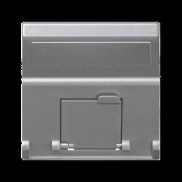 Plakietka teleinformatyczna K45 do adapterów MD pojedyncza skośna z osłonami 45×45mm aluminium-256400