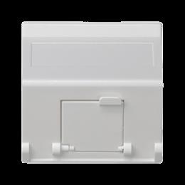 Plakietka teleinformatyczna K45 do adapterów MD pojedyncza skośna z osłonami 45×45mm czysta biel-256401