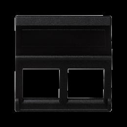 Plakietka teleinformatyczna K45 do adapterów MD podwójna bez osłon skośna 45×45mm szary grafit-256402