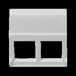 Plakietka teleinformatyczna K45 do adapterów MD podwójna bez osłon skośna 45×45mm czysta biel-256403