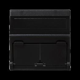 Plakietka teleinformatyczna K45 do adapterów MD podwójna skośna z osłonami 45×45mm szary grafit-256404