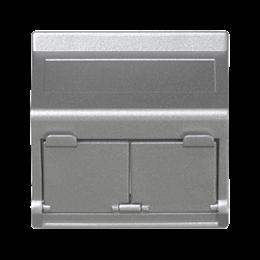Plakietka teleinformatyczna K45 do adapterów MD podwójna skośna z osłonami 45×45mm aluminium-256405