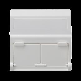 Plakietka teleinformatyczna K45 do adapterów MD podwójna skośna z osłonami 45×45mm czysta biel-256406