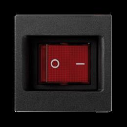 Łącznik dwubiegunowy K45 z sygnalizacja załączenia kolor: czerwony 16AX 250V 45×45mm szary grafit-256562