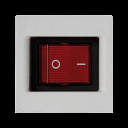 Łącznik dwubiegunowy K45 z sygnalizacja załączenia kolor: czerwony 16AX 250V 45×45mm czysta biel-256563