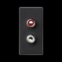 Płytka K45 złącza 2× RCA (CINCH) 45×22,5mm szary grafit-256500