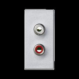 Płytka K45 złącza 2× RCA (CINCH) 45×22,5mm aluminium-256501
