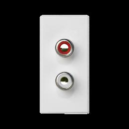 Płytka K45 złącza 2× RCA (CINCH) 45×22,5mm czysta biel-256499