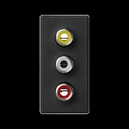 Płytka K45 złącza 3× RCA (CINCH) 45×22,5mm szary grafit-256503