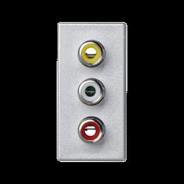 Płytka K45 złącza 3× RCA (CINCH) 45×22,5mm aluminium-256504