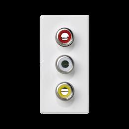 Płytka K45 złącza 3× RCA (CINCH) 45×22,5mm czysta biel-256502