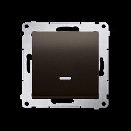 Łącznik jednobiegunowy z sygnalizacją załączenia LED (moduł) 10AX 250V, szybkozłącza, brąz mat, metalizowany-252053