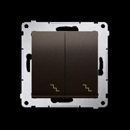 Łącznik schodowy podwójny z podświetleniem LED (moduł) 10AX 250V, zaciski śrubowe, brąz mat, metalizowany-252296