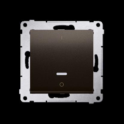 Łącznik dwubiegunowy z podświetleniem LED (moduł) 10AX 250V, szybkozłącza, brąz mat, metalizowany-252345