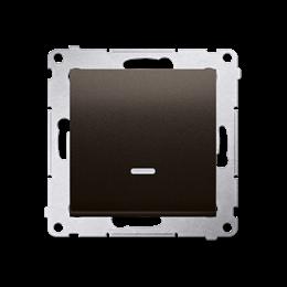 Przycisk pojedynczy zwierny bez piktogramu z podświetleniem LED (moduł) 10AX 250V, szybkozłącza, brąz mat, metalizowany-252158