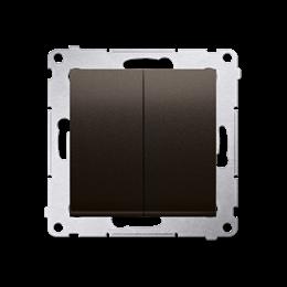 Przycisk podwójny zwierny. Dwuobwodowy: 2 wejścia, 2 wyjścia. (moduł) 10AX 250V, szybkozłącza, brąz mat, metalizowany-252285