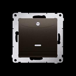 Łącznik hotelowy podwójny z podświetleniem (moduł) 10A (2A) 230V, wtyk do zagniatania (zacisk kleszczowy), brąz mat, metalizowan