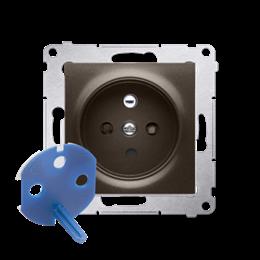 Gniazdo wtyczkowe pojedyncze DATA z kluczem uprawniającym do ramek Nature do ramek Premium (moduł) 16A 250V, zaciski śrubowe, br