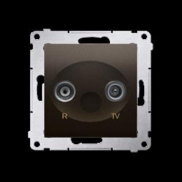 Gniazdo antenowe R-TV końcowe separowane tłum.:1dB brąz mat, metalizowany-252891