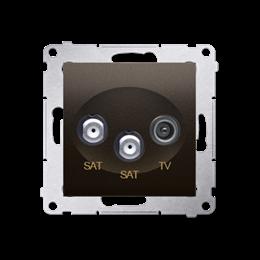 Gniazdo antenowe SAT-SAT-RTV satelitarne podwójne tłum.:1dB brąz mat, metalizowany-252950