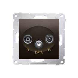 Gniazdo antenowe R-TV-DATA tłum.:10dB brąz mat, metalizowany-252956