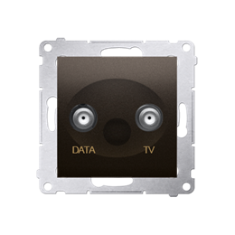 Gniazdo antenowe TV-DATA tłum.:5dB brąz mat, metalizowany-252961