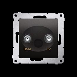 Gniazdo antenowe TV-DATA tłum.:5dB antracyt, metalizowany-252962
