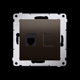 Gniazdo telefoniczne pojedyncze RJ12 (moduł) brąz mat, metalizowany-253045