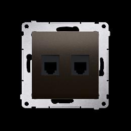 Gniazdo telefoniczne podwójne RJ12 (moduł) brąz mat, metalizowany-253051
