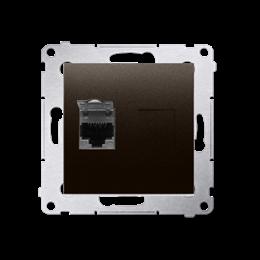 Gniazdo komputerowe pojedyncze ekranowane RJ45 kategoria 6, z przesłoną przeciwkurzową (moduł) brąz mat, metalizowany-253069