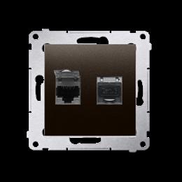 Gniazdo komputerowe podwójne ekranowane RJ45 kategoria 6, z przesłoną przeciwkurzową (moduł) brąz mat, metalizowany-253075