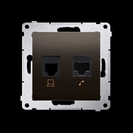 Gniazdo komputerowe RJ45 kategoria 5e + telefoniczne RJ12 (moduł) brąz mat, metalizowany-253081
