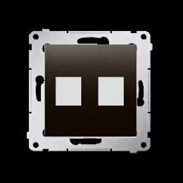 Pokrywa gniazd teleinformatycznych na Keystone płaska podwójna brąz mat, metalizowany-253090