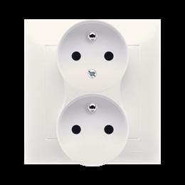 Gniazdo wtyczkowe podwójne z uziemieniem z funkcją niezmienności faz (kompletny produkt) 16A 250V, zaciski śrubowe, kremowy-2524