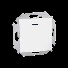 Łącznik jednobiegunowy z podświetleniem LED nie wymienialny kolor: czerwony (moduł) 16AX 250V, zaciski śrubowe, biały-254544