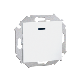 Przycisk pojedynczy zwierny z podświetleniem LED nie wymienialny kolor: czerwony (moduł) 16AX 250V, zaciski śrubowe, biały-25459