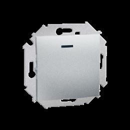 Przycisk pojedynczy zwierny z podświetleniem LED nie wymienialny kolor: czerwony (moduł) 16AX 250V, zaciski śrubowe, aluminiowy,