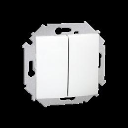 Przycisk podwójny zwierny. Dwuobwodowy: 2 wejścia, 2 wyjścia. (moduł) 16AX 250V, zaciski śrubowe, biały-254600