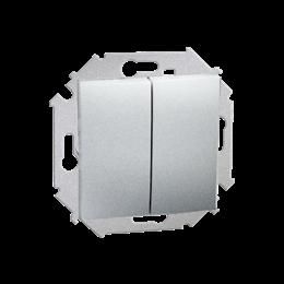 Przycisk podwójny zwierny. Dwuobwodowy: 2 wejścia, 2 wyjścia. (moduł) 16AX 250V, zaciski śrubowe, aluminiowy, metalizowany-25460