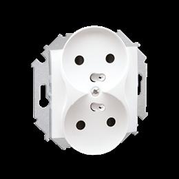 Gniazdo wtyczkowe podwójne z uziemieniem z przesłonami biały 16A-254616