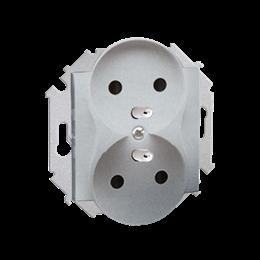 Gniazdo wtyczkowe podwójne z uziemieniem z przesłonami aluminiowy, metalizowany 16A-254618