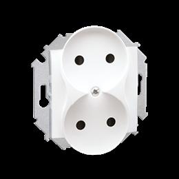 Gniazdo wtyczkowe podwójne bez uziemienia z przesłonami torów prądowych biały 16A-254622