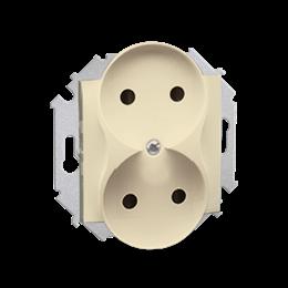 Gniazdo wtyczkowe podwójne bez uziemienia z przesłonami torów prądowych beżowy 16A-254623