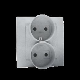Gniazdo wtyczkowe podwójne bez uziemienia z przesłonami torów prądowych aluminiowy, metalizowany 16A-254638
