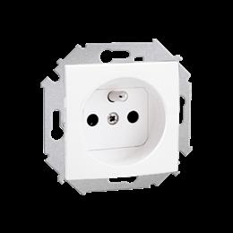 Gniazdo wtyczkowe pojedyncze z uziemieniem z przesłonami torów prądowych biały 16A-254642