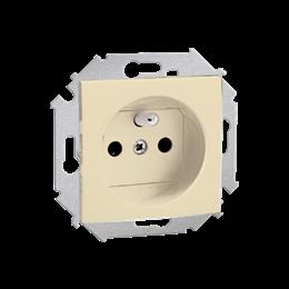 Gniazdo wtyczkowe pojedyncze z uziemieniem z przesłonami torów prądowych beżowy 16A-254643