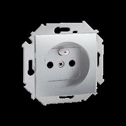 Gniazdo wtyczkowe pojedyncze z uziemieniem z przesłonami torów prądowych aluminiowy, metalizowany 16A-254644