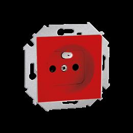 Gniazdo wtyczkowe pojedyncze z uziemieniem z przesłonami torów prądowych czerwony 16A-254645