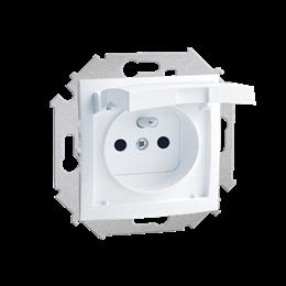 Gniazdo wtyczkowe pojedyncze do wersji IP44 z przesłonami torów prądowych - z uszczelką - klapka w kolorze pokrywy biały 16A-254