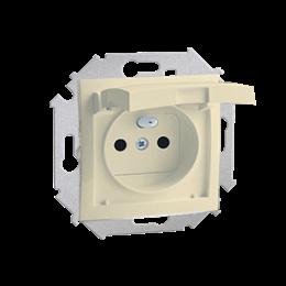 Gniazdo wtyczkowe pojedyncze do wersji IP44 z przesłonami torów prądowych - z uszczelką - klapka w kolorze pokrywy beżowy 16A-25